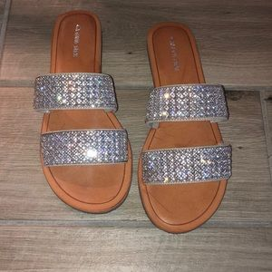Rhinestone slides with double strap